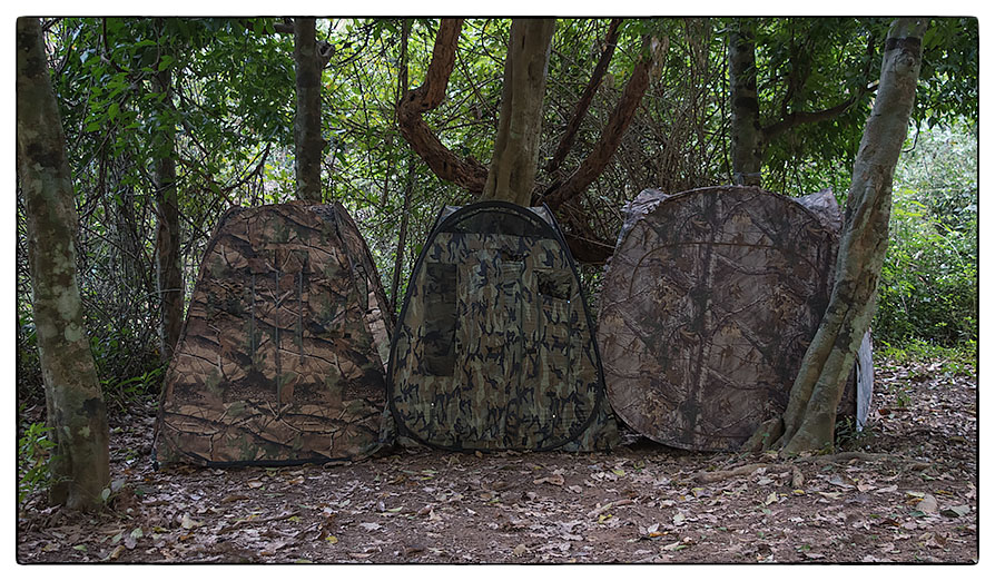 Human vision wildlife blinds and hides camouflage